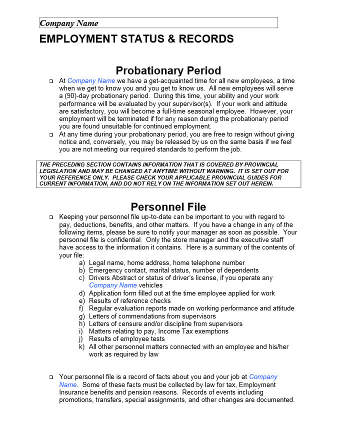 Sample Page From Employee Handbook