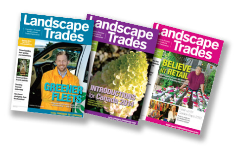 Covers of Landscape Trades magazines