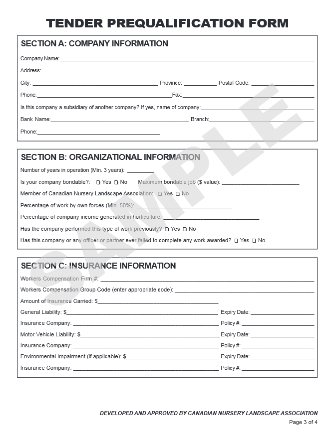 Sample Contract and Tender Prequalification Form Landscape tario