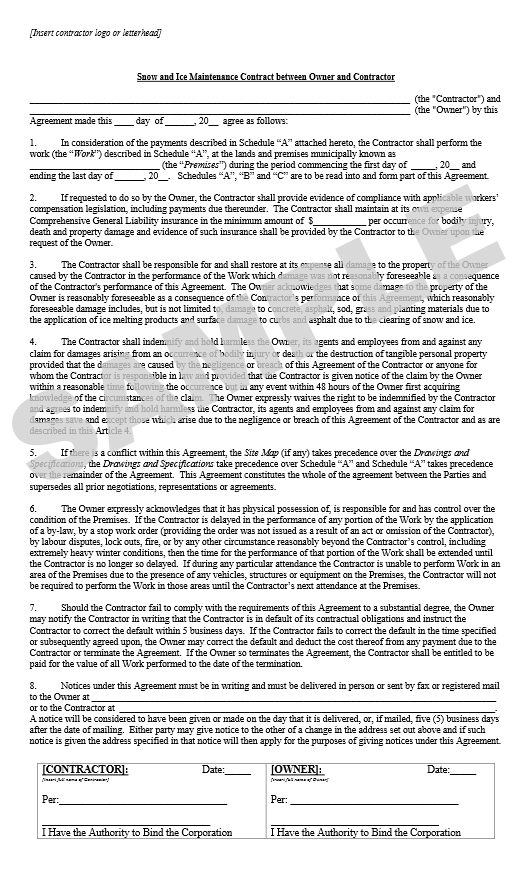 standard terms and conditions for services template - snow contracts landscape ontario