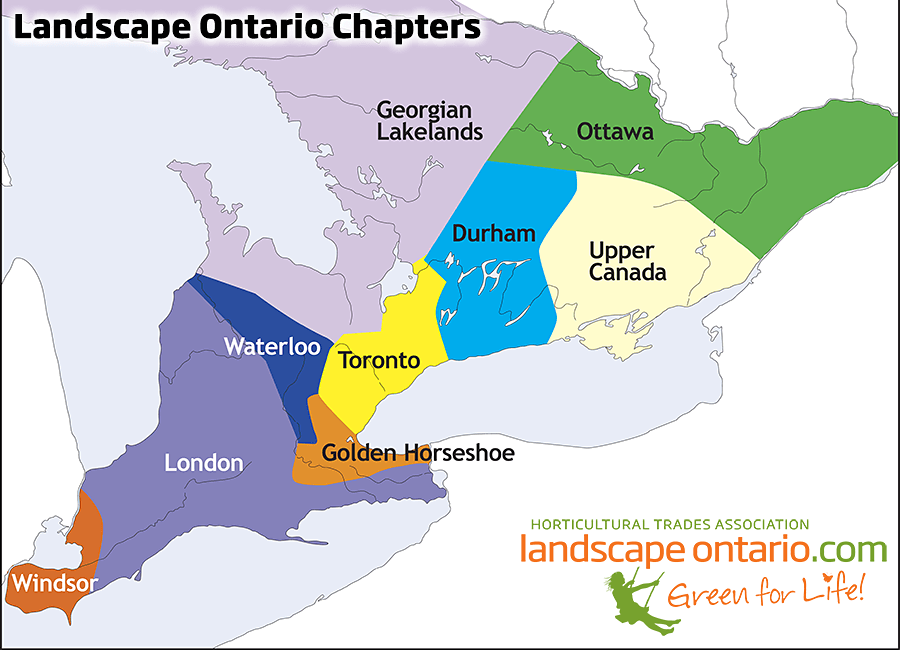 Map of Ontario showing LO Chapter boundaries