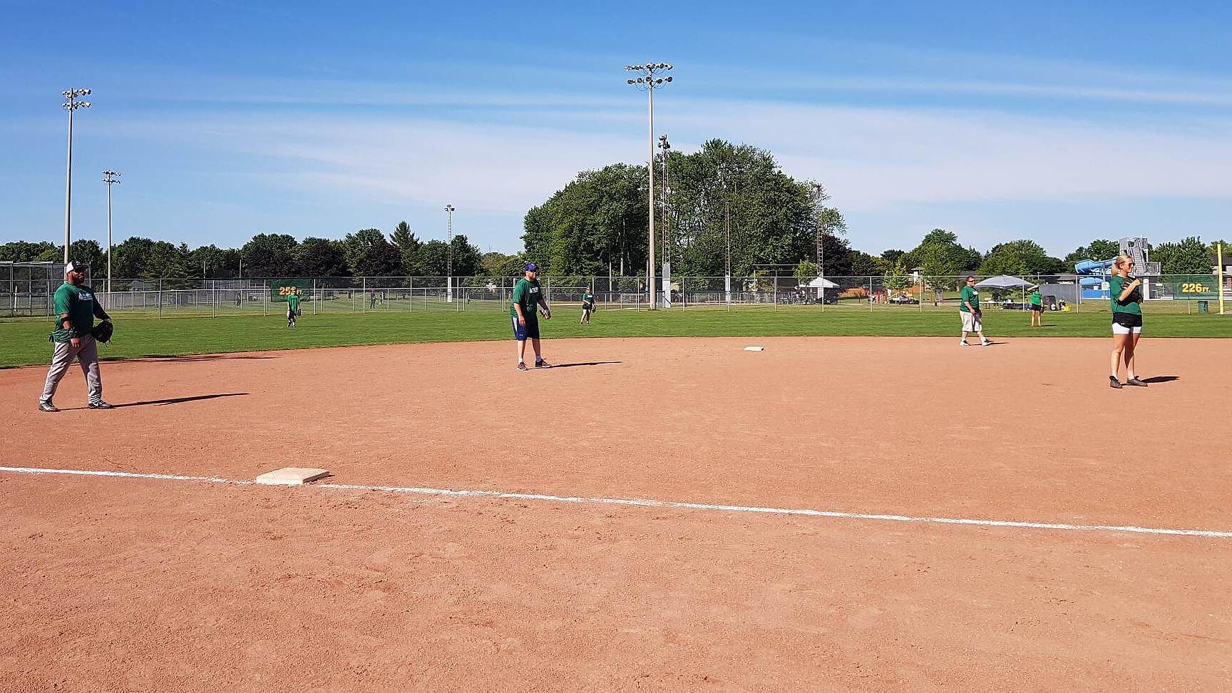 People on a baseball diamond