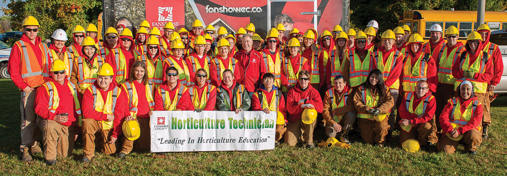 large group of student volunteers from Fanshawe college