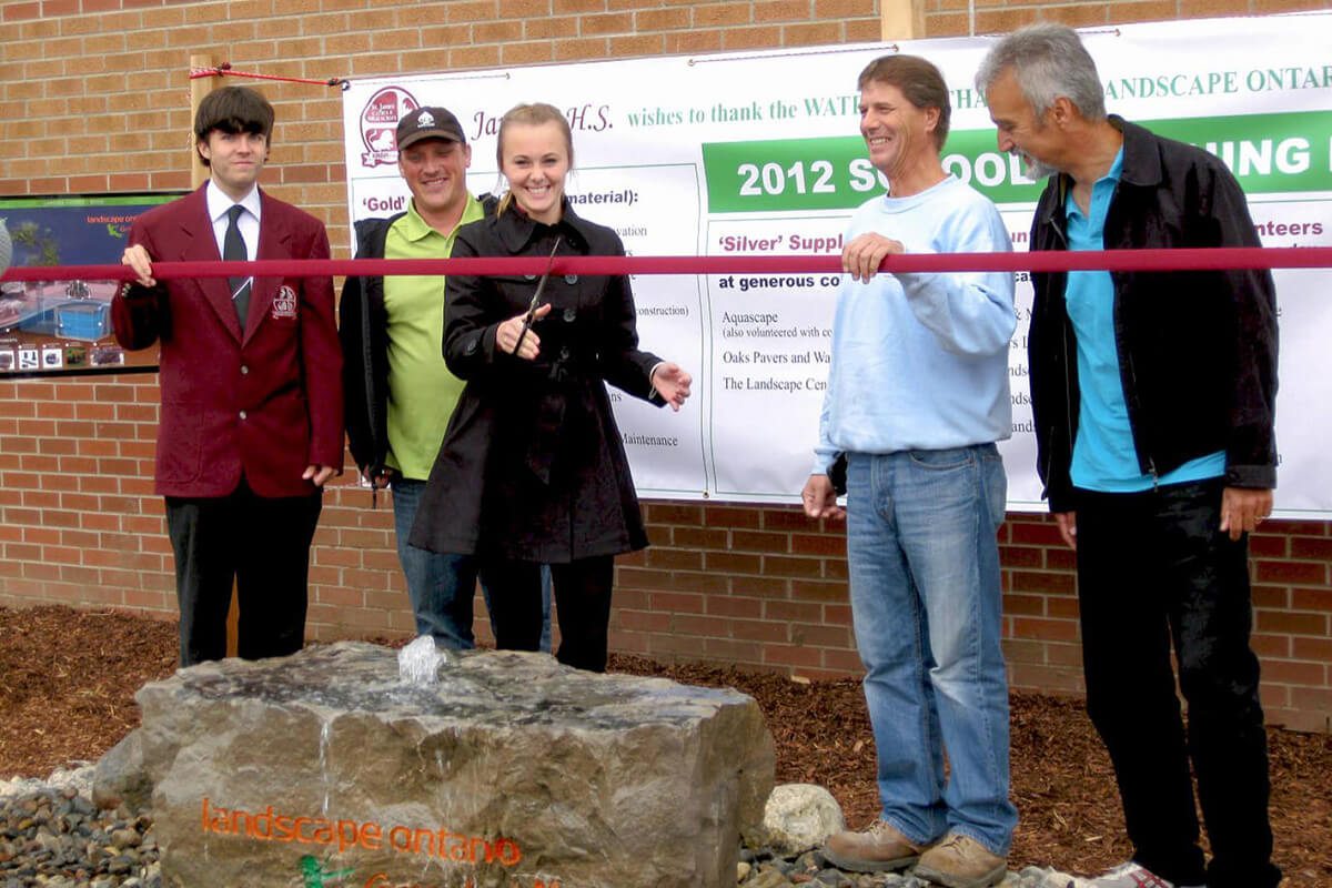 ribbon cutting at a new school garden