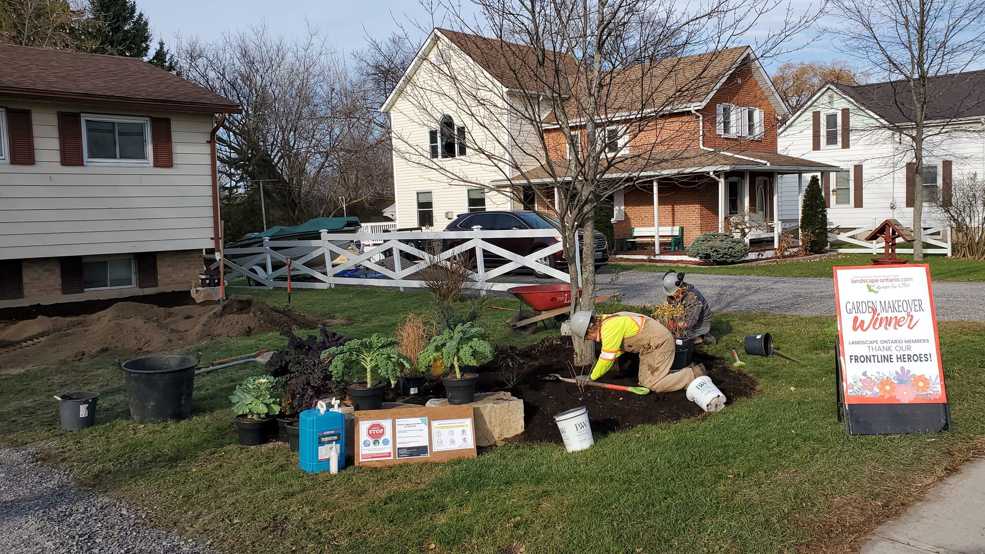 person planting in a front yard